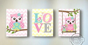 Pink & Aqua Nursery Art - Love & Owls Canvas Nursery Decor -The Love Collection - Set of 3-MuralMax Interiors