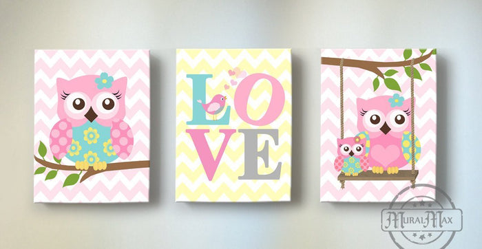 Pink & Aqua Nursery Art - Love & Owls Canvas Nursery Decor -The Love Collection - Set of 3