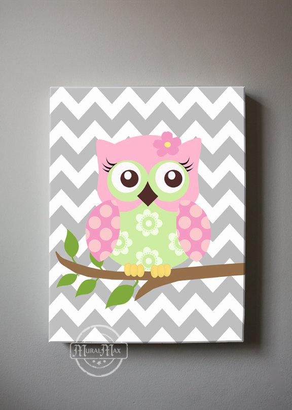 Pink Green Baby Nursery Art - Owl Family Mom Dad Baby Owl Canvas Wall Decor