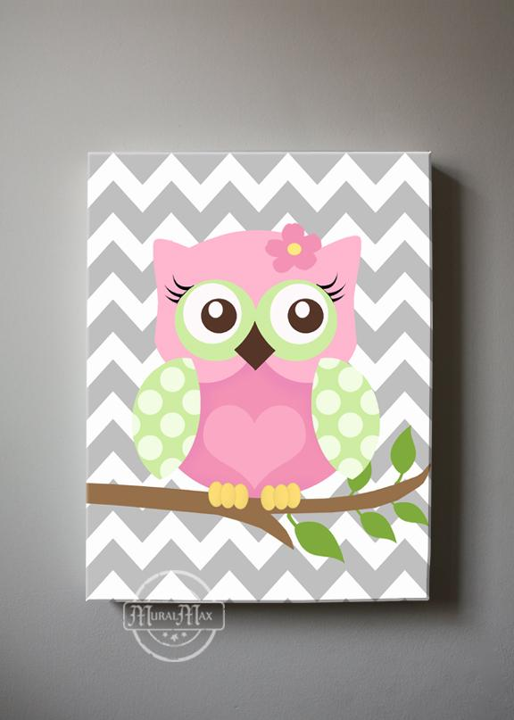 Pink Green Owl Art - Baby Girl Nursery Canvas Decor -The Owl CollectionBaby ProductMuralMax Interiors
