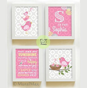 Pink Personalized Birdies Nursery Wall Art - You are My Sunshine - Unframed Prints - Set of 4-B018KOD8FG-MuralMax Interiors