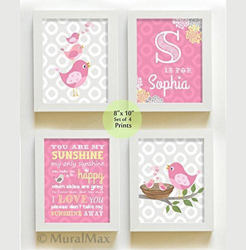 Pink Personalized Birdies Nursery Wall Art - You are My Sunshine - Unframed Prints - Set of 4-B018KOD8FG