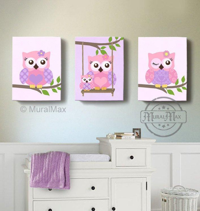 Pink & Purple Baby Nursery Decor - Owl Family Canvas Wall Art - Set of 3