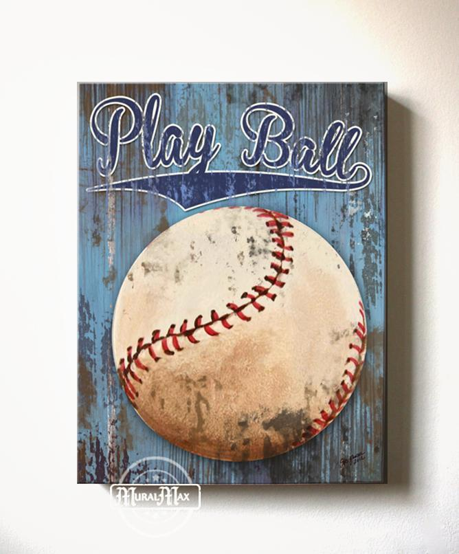 Play Ball Baseball Canvas Wall Art - Vintage Sports Canvas Sporting Event Collection-Boy Room Decor
