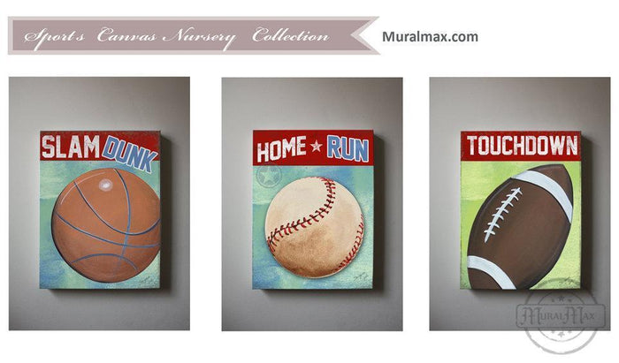 Play Ball Boy Nursery Playroom Wall Art - Football - Baseball - Basketball Canvas Art Set of 3