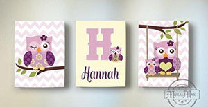 Plum Owls Personalized Wall Art - Purple Owl Canvas Nursery Decor -Personalized Set of 3 Decor-MuralMax Interiors