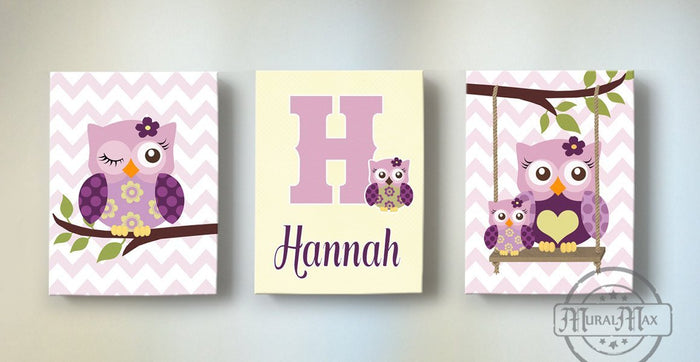 Plum Owls Personalized Wall Art - Purple Owl Canvas Nursery Decor -Personalized Set of 3 Decor