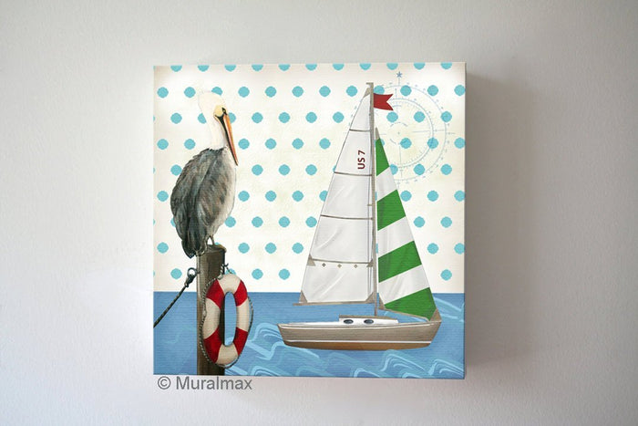 Polka Dots Sailboat & Pelican Canvas Nursery Art - Nautical Room Decor