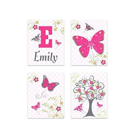 Polka Dots & Whimsical Butterfly Tree Girl Room Decor - Set of 4 - Unframed Prints-B01CRT8H2O-MuralMax Interiors