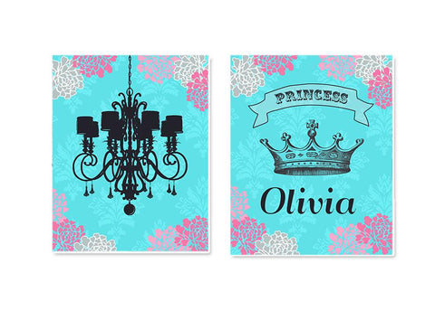 Princess Girl Room Wall Art - Nursery Art - Personalized Princess Crown & Chandelier - Set of 2 - Unframed Prints-MuralMax Interiors