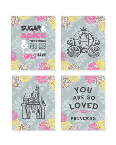 Princess Play Room Wall Art - Princess Castle and Inspirational Quotes Nursery Art - Set of 4 - Unframed Prints-MuralMax Interiors