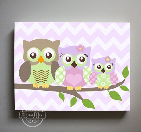 Purple Nursery Decor - Owls Family Canvas Decor - The Owl Family Of 3 Collection