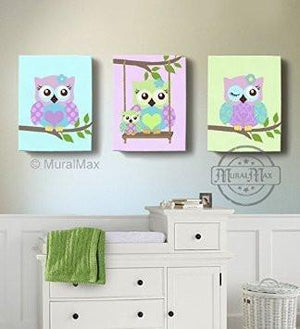Purple Owl Baby Girl Nursery Decor - Swinging Owls Canvas Decor - Whimsical Owl Collection - Set of 3-MuralMax Interiors