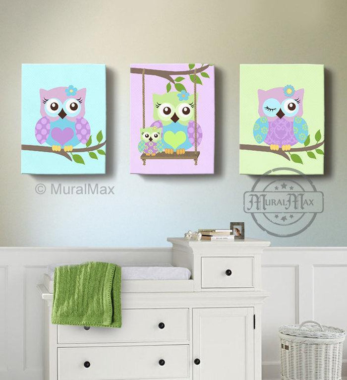 Purple Owl Baby Girl Nursery Decor - Swinging Owls Canvas Decor - Whimsical Owl Collection - Set of 3