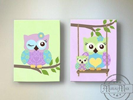 Purple Owls Canvas Decor - Whimsical Owl Girl Nursery Wall Art - Set of 2