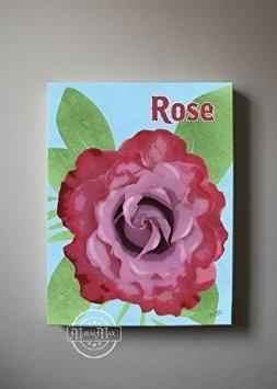 Rose Floral Canvas Wall Art-B018ISM8DW