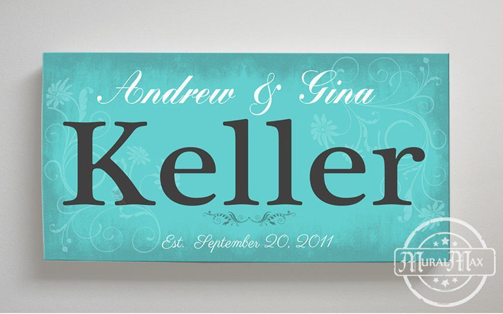 Rustic Couple Sign Custom Family Name & Established Date Stretched Canvas Wall Art-MuralMax Interiors