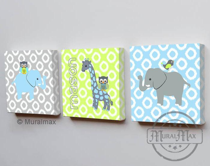 Safari Animal Canvas Nursery Art - Personalized Green Gray Elephant & Giraffe Decor - Set of 3-MuralMax Interiors