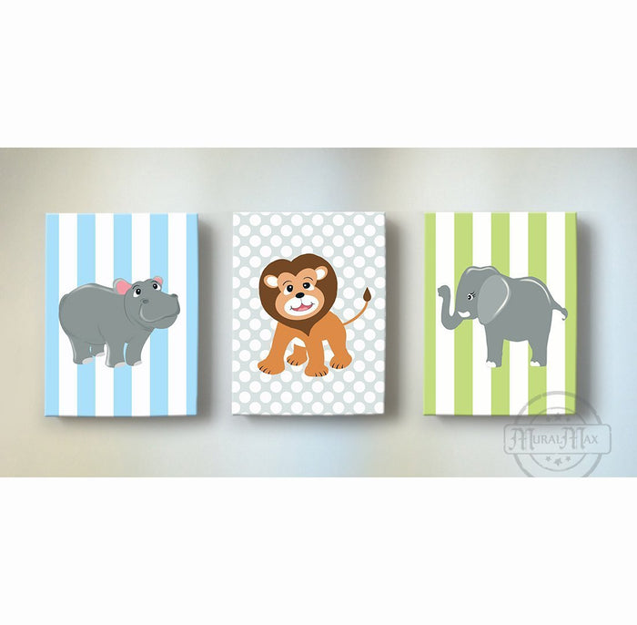 Safari Animals Baby Boy Nursery Art - Elephant Giraffe Hippo Canvas Art - Set of 3