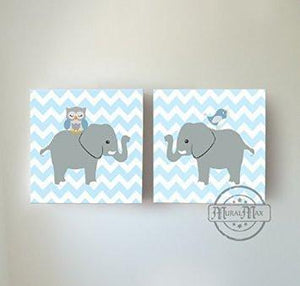 Safari Animals Baby Nursery Wall Art Elephant Owl Baby Boy Nursery Canvas Set of 2-MuralMax Interiors