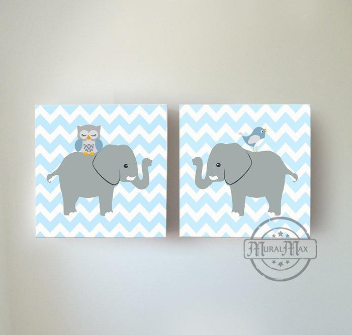 Safari Animals Baby Nursery Wall Art Elephant Owl Baby Boy Nursery Canvas Set of 2