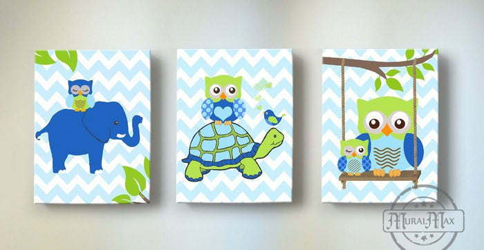 Safari Animals Nursery Art - Elephant Turtle & Giraffe Canvas Wall Art - Set of 3