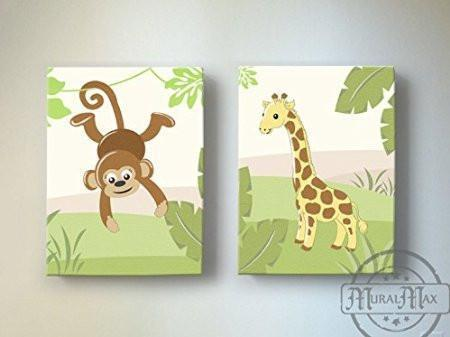 Safari Monkey & Giraffe Collection -Canvas Decor - Set of 2-B018ISNOA8