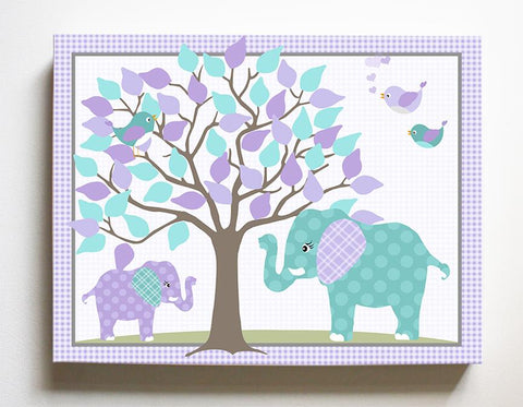 Safari Nursery Art - Elephant Girls Room Decor - Mom & Baby Elephant Canvas Art - Purple Aqua-MuralMax Interiors