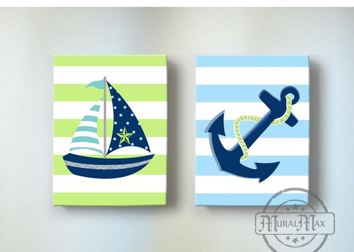 Sailboat & Anchor Nautical Boy Nursery Art - Canvas Nursery Wall Decor - Set of 2-Navy & Green Decor