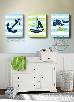 Sailboat Anchor & Whale Nautical Baby Boy Nursery Canvas Wall Decor - Set of 3 Navy & Green Decor