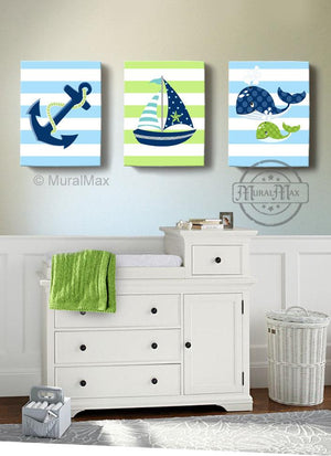 Sailboat Anchor & Whale Nautical Baby Boy Nursery Canvas Wall Decor - Set of 3 Navy & Green DecorBaby ProductMuralMax Interiors