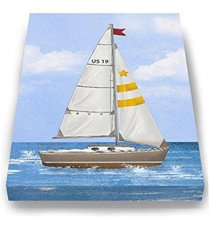 Sailboat Nautical Nursery Art - Boy Room Nautical Canvas Art - Sailboat Painting - Sailboat Decor-MuralMax Interiors