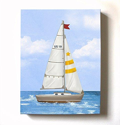 Sailboat Nautical Nursery Art - Boy Room Nautical Canvas Art - Sailboat Painting - Sailboat Decor