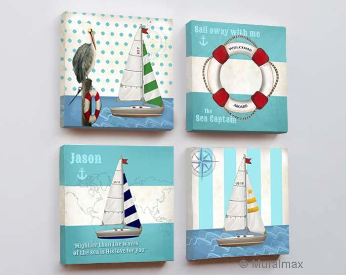 Sailboat Nursery Canvas Wall Art - Nautical Sailboat Boy Room Decor - The Boating Collection-MuralMax Interiors