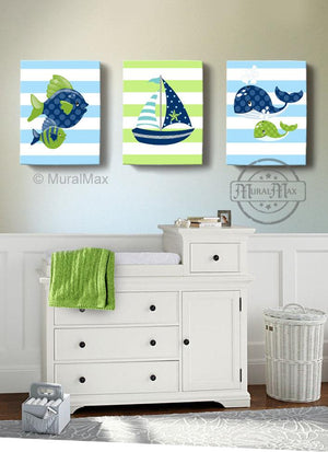 Sealife Nautical Boy Nursery Art - Sailboat Fish Whale Canvas Nursery Wall Decor - Set of 3-MuralMax Interiors