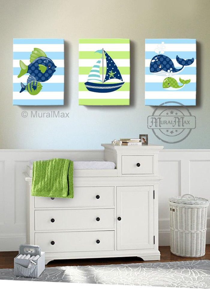 Sealife Nautical Boy Nursery Art - Sailboat Fish Whale Canvas Nursery Wall Decor - Set of 3