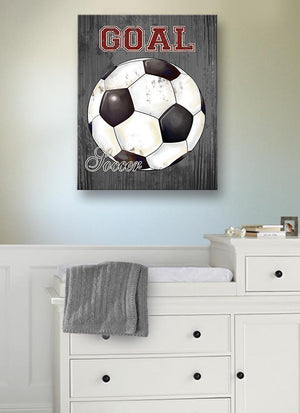 Soccer Ball Vintage Canvas Wall Art - Boy Room Playroom Man Cave Decor-MuralMax Interiors