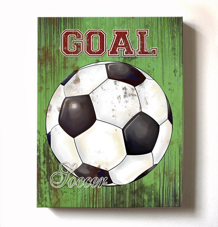 Soccer Ball Vintage Canvas Wall Art - Boy Room Playroom Man Cave Decor