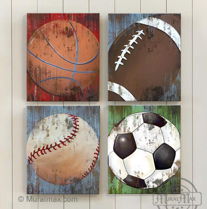 Sports Canvas Wall Art - Little Man Cave Room Decor - All Star Boy Room Decor Set of 4 Canvas Art
