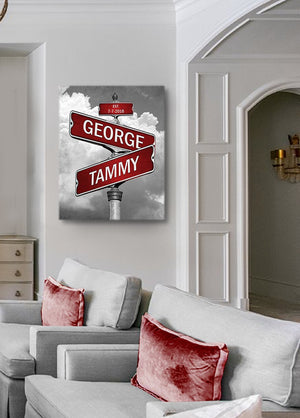 Street Sign Personalized with Couple's Names Anniversary Date-MuralMax Interiors