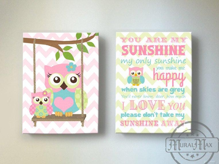 Sunshine & Owl Baby Girl Room Decor - Canvas Art Collection - Set of 2 - Pink Blue Green Decor-MuralMax Interiors
