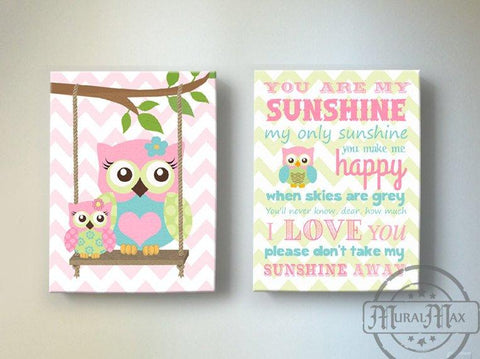 Sunshine & Owl Baby Girl Room Decor - Canvas Art Collection - Set of 2 - Pink Blue Green Decor