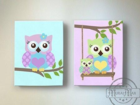 Swinging Mom & Baby Owl Nursery Art - Purple Owl Canvas Decor  -Set of 2 Art