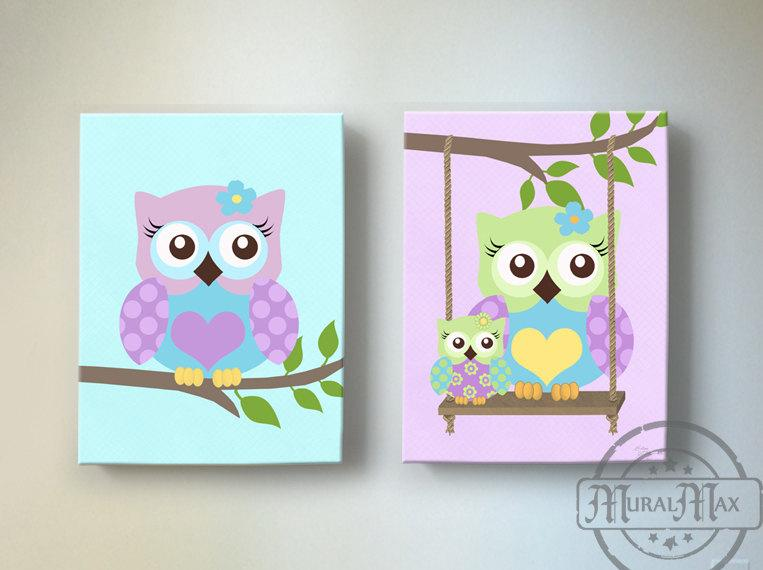 Swinging Mom & Baby Owl Nursery Art - Purple Owl Canvas Decor -Set of 2 Art-MuralMax Interiors
