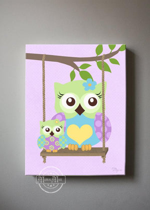 Swinging Owls Nursery Art - Purple Aqua Green Owl Canvas Wall Art-MuralMax Interiors