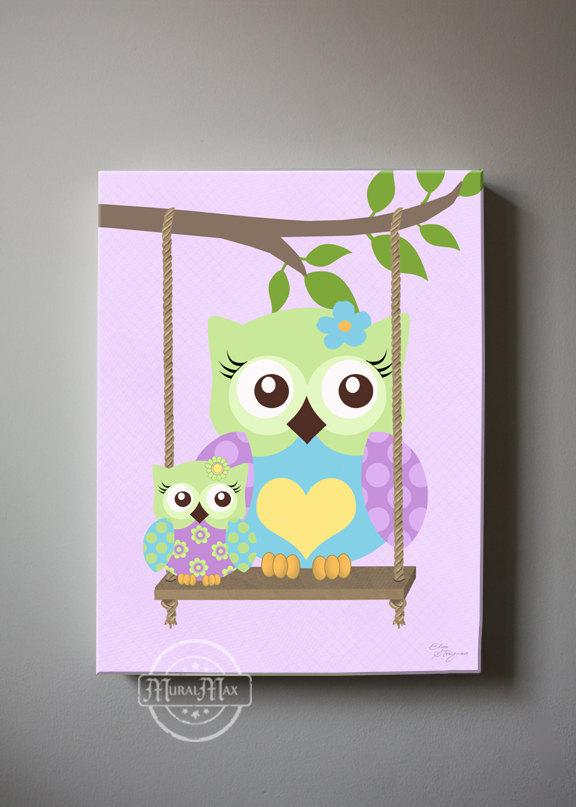 Swinging Owls Nursery Art - Purple Aqua Green Owl Canvas Wall Art
