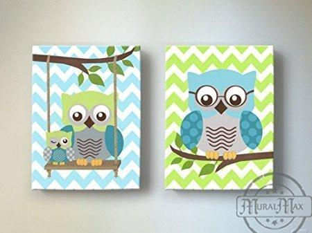 Teal Green Owls Decor - Boys Room Canvas Wall Art -The Owl Collection - Set of 2