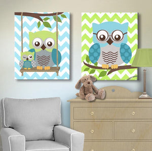 Teal Green Owls Decor - Boys Room Canvas Wall Art -The Owl Collection - Set of 2-MuralMax Interiors