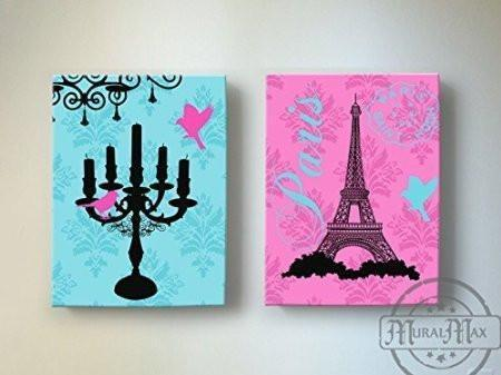 The Candelabra & Eiffel Tower Theme - The Paris Collection - Canvas Decor - Set of 2-B018ISLYR8