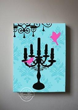 The Candelabra & Lovebird Theme - The Paris Collection - Canvas Decor-B018ISLVD0-MuralMax Interiors